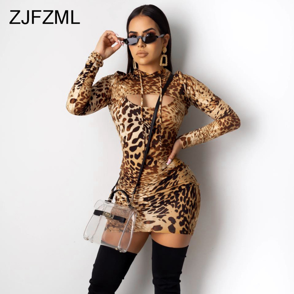 Leopard Sexy Bandage Dress Women Hooded Long Sleeve Front Cut-Out Wrap Mini Dresses 2019 Fall Winter Bodycon Package Hip Dress image