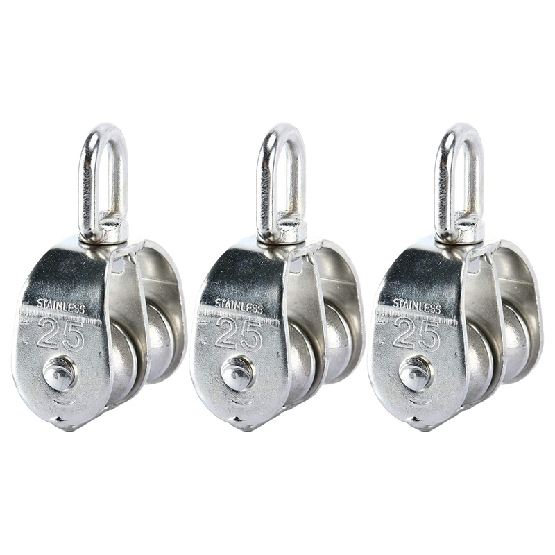3 Pack M25 Double Pulley Block In 304 Stainless Steel Crane Swivel Hook Double Pulley Roller Loading