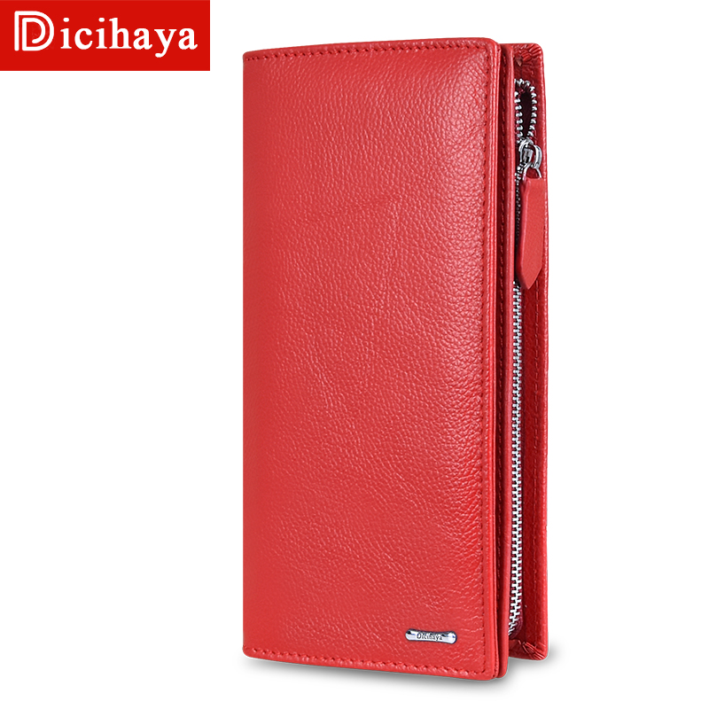 DICIHAYA 2020 Women Wallets Genuine Leather RFID Blocking Functional Wallet Zipper Long Card Holder Ladies Coin Purse Phone Bag