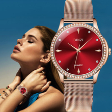 BINZI Gold Watch Women Quartz Watches Ladies Top Brand Crystal Luxury Female Wrist Girl Clock Relogio Feminino Mesh Strap