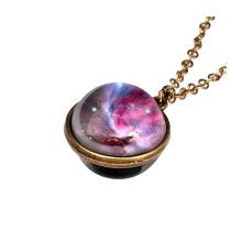 Frauen Halsketten schmuck Glow In The Dark Galaxy System Doppelseitige Glas Dome Planet Anhänger collares de moda 2019 halskette(China)