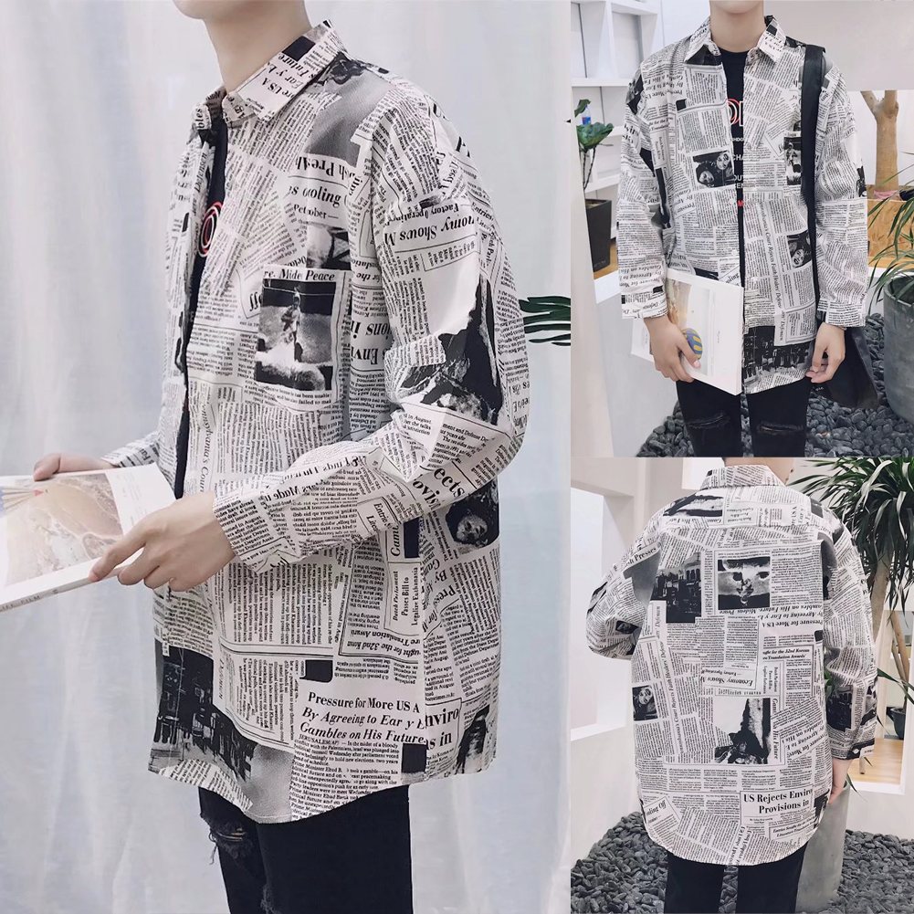 Fashion Tops Casual Splicing Newspaper Printing Daily Spring Male Clothes Long Sleeve Square Neck Slim Fit Men Shirts Boy
