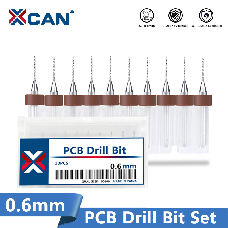 XCAN 10 Pcs/set 0.6mm Import Carbide PCB Drill Bits, Print Circuit Board Mini CNC Drilling Bit Set