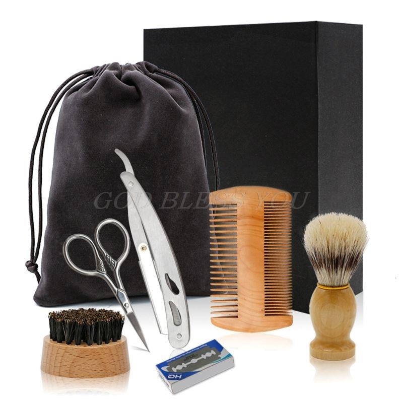 Fashion Men Shaver Care Set Beard Styling Combs Hair Clean Brush Blade