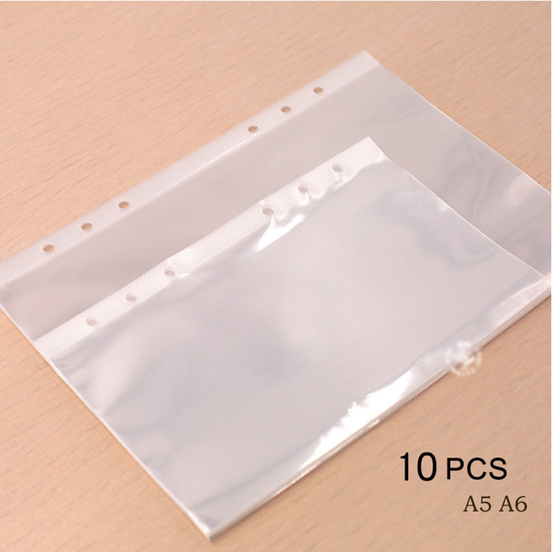 10Pcs A5 A6 Transparent File Holder Notebook 6 Hole Loose Leaf Pouch DIY Document Bag Binder Rings PVC Storage Binding Folder