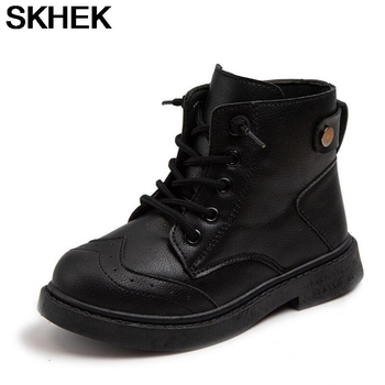 SKHEK fation kids boots Baby Children Ankle Warm Sneaker Flat with PU Snow Casual Shoes girls autumn сапоги детские