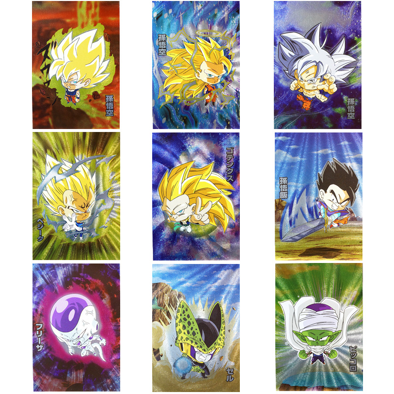9PCS+1 Japanese Anime Dragon Ball Super Original Flash Cards Version Q Weihua Card Goku Game Collection Cards