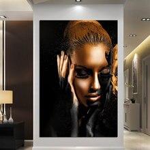 Черные золотые африканские женские картины маслом на холсте