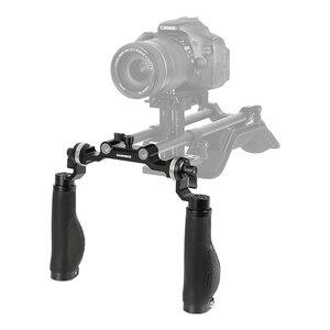 Image 2 - Camvate Standaard 15Mm Dubbele Stang Klem Met Arri Rozet Adapters Voor Dslr Camera Schouder Mount Rig 15Mm Staaf ondersteuning Systeem Nieuwe
