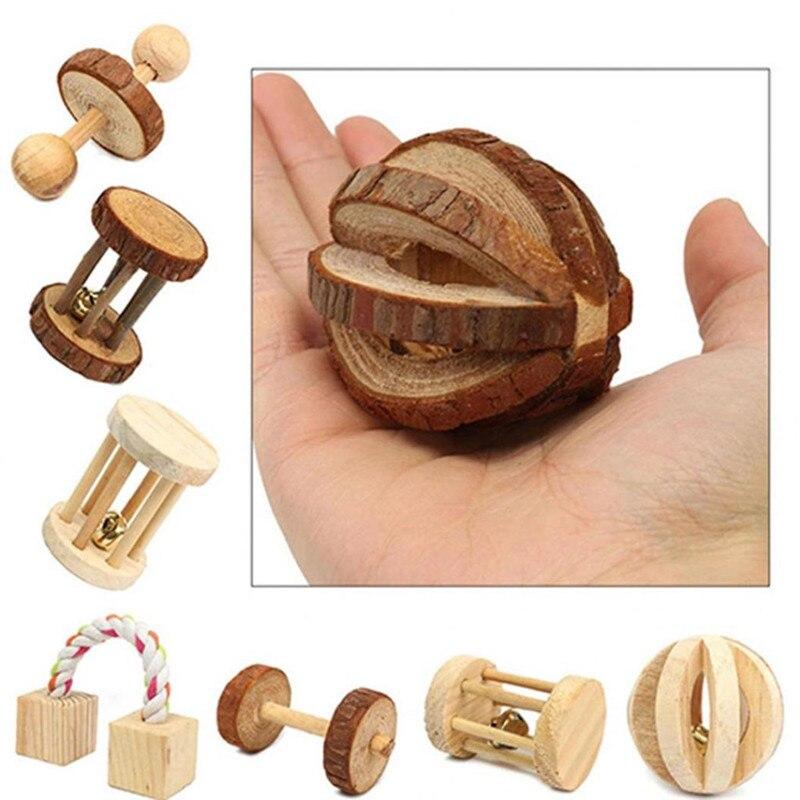 Coelho de madeira natural bonito brinquedos pinheiro dumells unicycle sino rolo mastigar brinquedos para cobaias rato pequeno animal estimação molares suprimentos