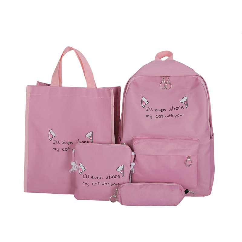 Female Backpack Student-Bag School-Bag Canvas Large-Capacity Four-Piece of The Korean-Version