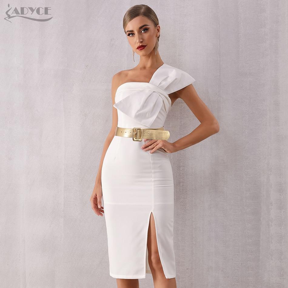 Adyce 2020 New Summer Elegant White Women Celebrity Evening Party Dress Vestido Sexy Strapless Sleeveless Bow Midi Club Dresses