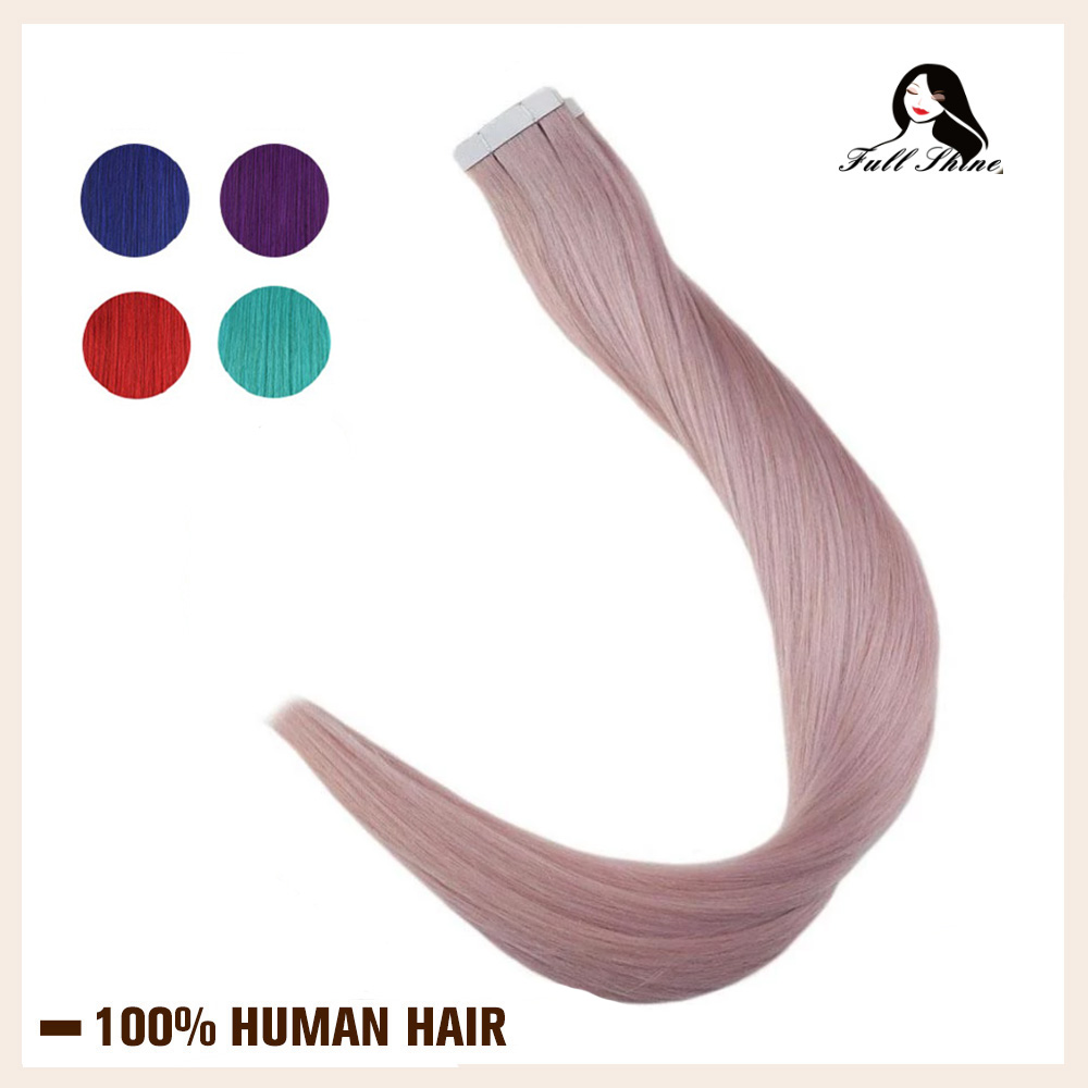 Full Shine Tape In 100% Human Hair Extension Rainbow Colorful Glue On Hair Seamless Extension 50 Grams Tape On Hair Machine Remy