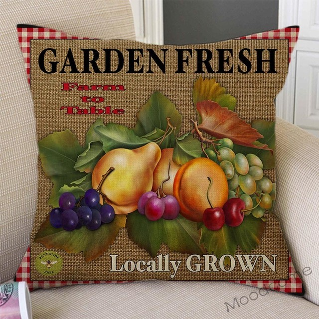 Vintage Farm Life Rooster Cow Vegetable Fruits Farm Fresh Art Home Decor Pillow Cover Relaxed Leisure Rural Life Cushion Covers 3