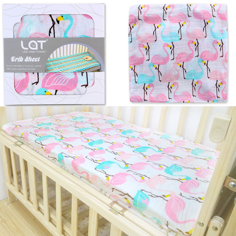 LAT LEE AND TOWN Organic Baby Crib Sheets Fitted Crib Sheets Soft Baby Bed Mattress Covers 70*130cm Newborns Pre-washed Bedsheet image