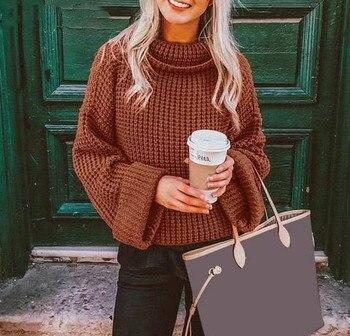 Femmes hiver et automne chandails nouveau col roulé à manches longues pull tricoté femmes pull 2019