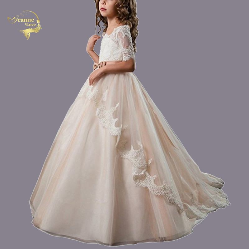 Sheer Neck Champagne Floral Lace   Flower     Girls     Dresses   Half Sleeves Ball Gowns   Girls   First Communion   Dress   Long Princess   Dresses