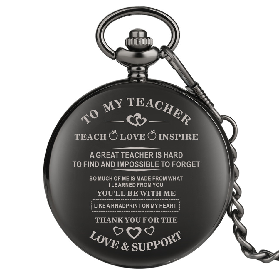 To My Teacher Design Antique Pocket Watch Graduation Thanksgiving Gifts To Teachers Vintage Pendant Clock For Men Women