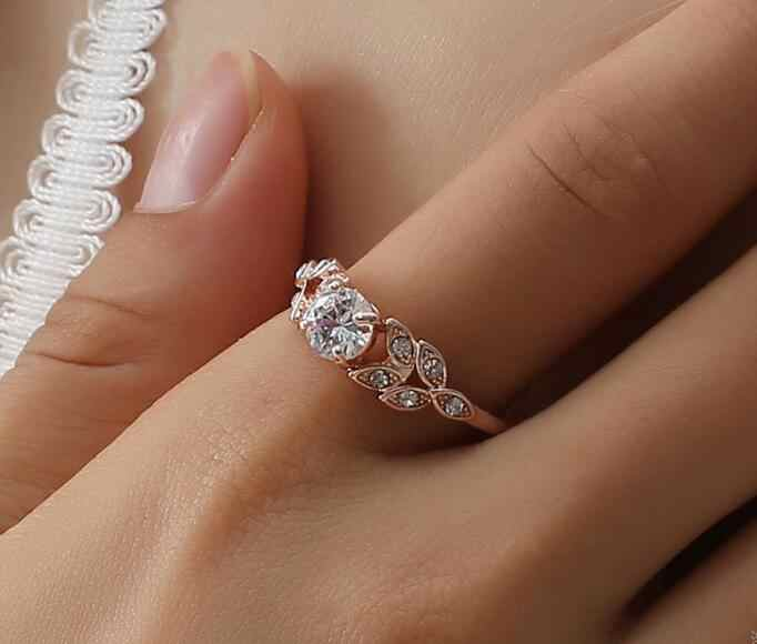 Fashion Jewelry Feather Wedding Ring Four-Prong Diamond Leaf Zircon Ring silver/rose gold women rings ladies ring Wedding ring