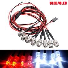 Nova venda quente 6/8 kit de luz led 2 blanco 2 rojo azul 2 para 1/10 de 1/8 traxxas hsp scx10 d90 hpi rc coche