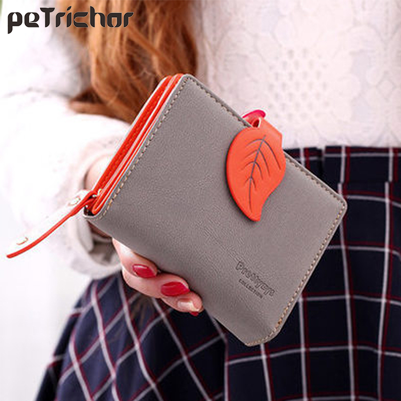 Brand Fashion Women Wallet Leaf Pattern Buckle Ladies Wallets Leather Small Short Wallets Female Zipper Coin Purse