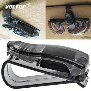 Image 1 - Gläser Halter Auto Zubehör Sonnenbrille Halter ABS Auto Verschluss Sonnenblende Gläser Fall Ticket Clip Karte Halter Halterung