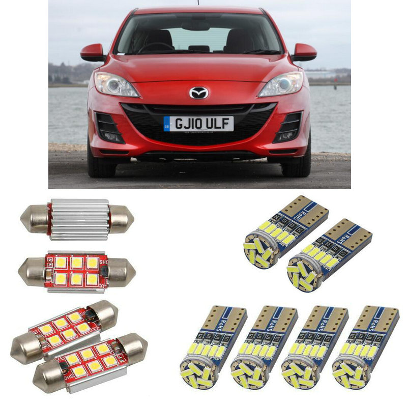Interior led Car lights For Mazda 3 bk <font><b>bl</b></font> hatchback saloon sedan bulbs for cars License Plate Light 8pc image