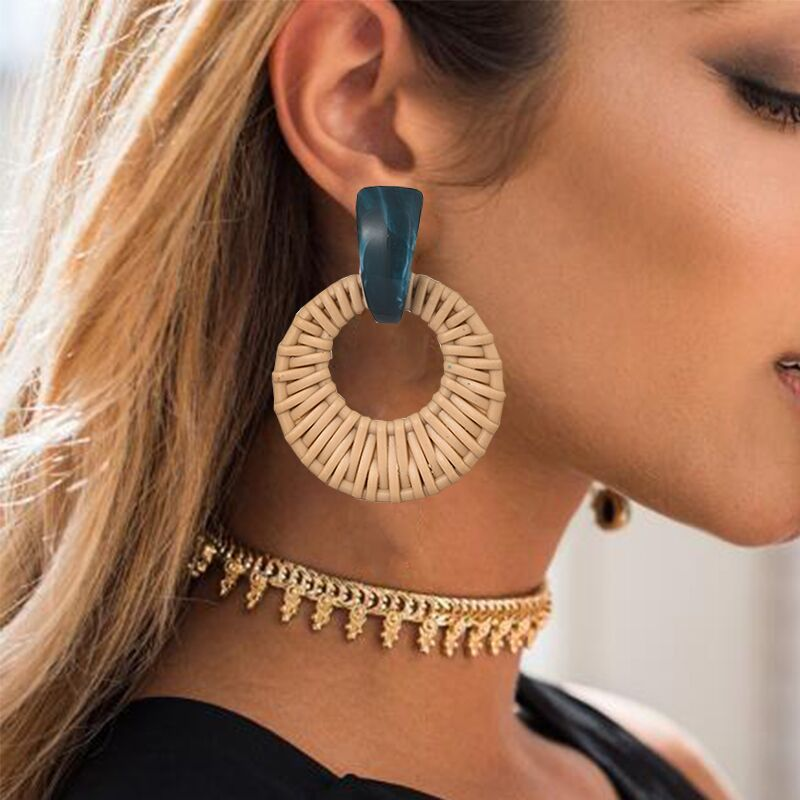 Korea Bohemia Handmade Geometric Drop Earrings For Women Imitation Rattan Straw Weave Knit Vine Earring Vacation Party Jewelry