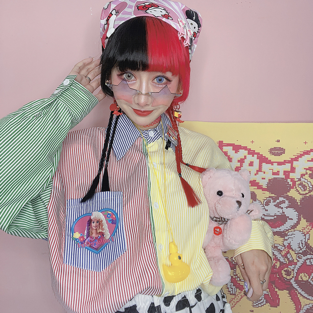 New Autumn Long-sleeved Striped Women Shirt Loose Cartoon Print BF Style Shirt Female Harajuku Sweet Hit Color Blouse Mujer 3