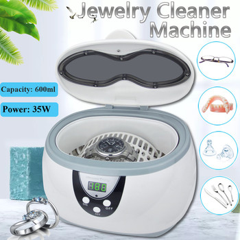600ml Ultrasonic Cleaner Bath Jewelry Parts Glasses Manicure Stones Cutters Dental Razor Brush Ultrasound Sonic Cleaning