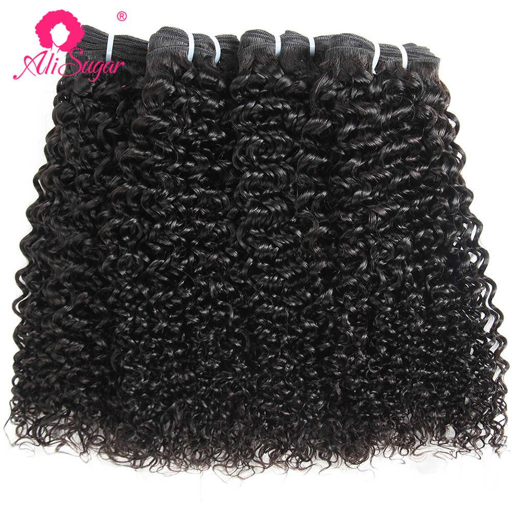 Ali Sugar dziewiczy włosy peruwiański perwersyjne kręcone 4 zestawy z zamknięciem 4*4 koronka Natural Color 100% nieprzetworzone nieprzetworzone ludzkie włosy