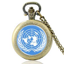 High Quality Vintage  United Nations Symbol Glass Dome Quartz Pocket Watch Classic Men Women Bronze Necklace Pendant Gifts