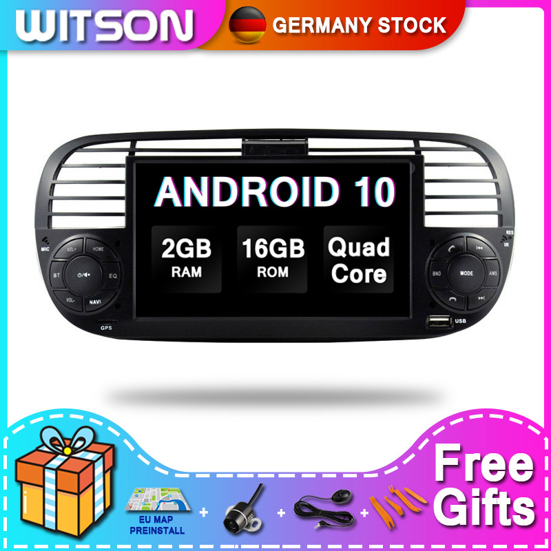 DE Estoque! Witson android 10 touch monitor de áudio do carro sistema multimídia para fiat 500 2 ram + 16gb 4 núcleo dvr/wifi dsp dab