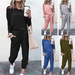 Women Solid Color Long Sleeve O Neck Blouse Top Drawstring Pants Sport Tracksuit Sports Shirts Autumn Winter Set Tracksuit Print