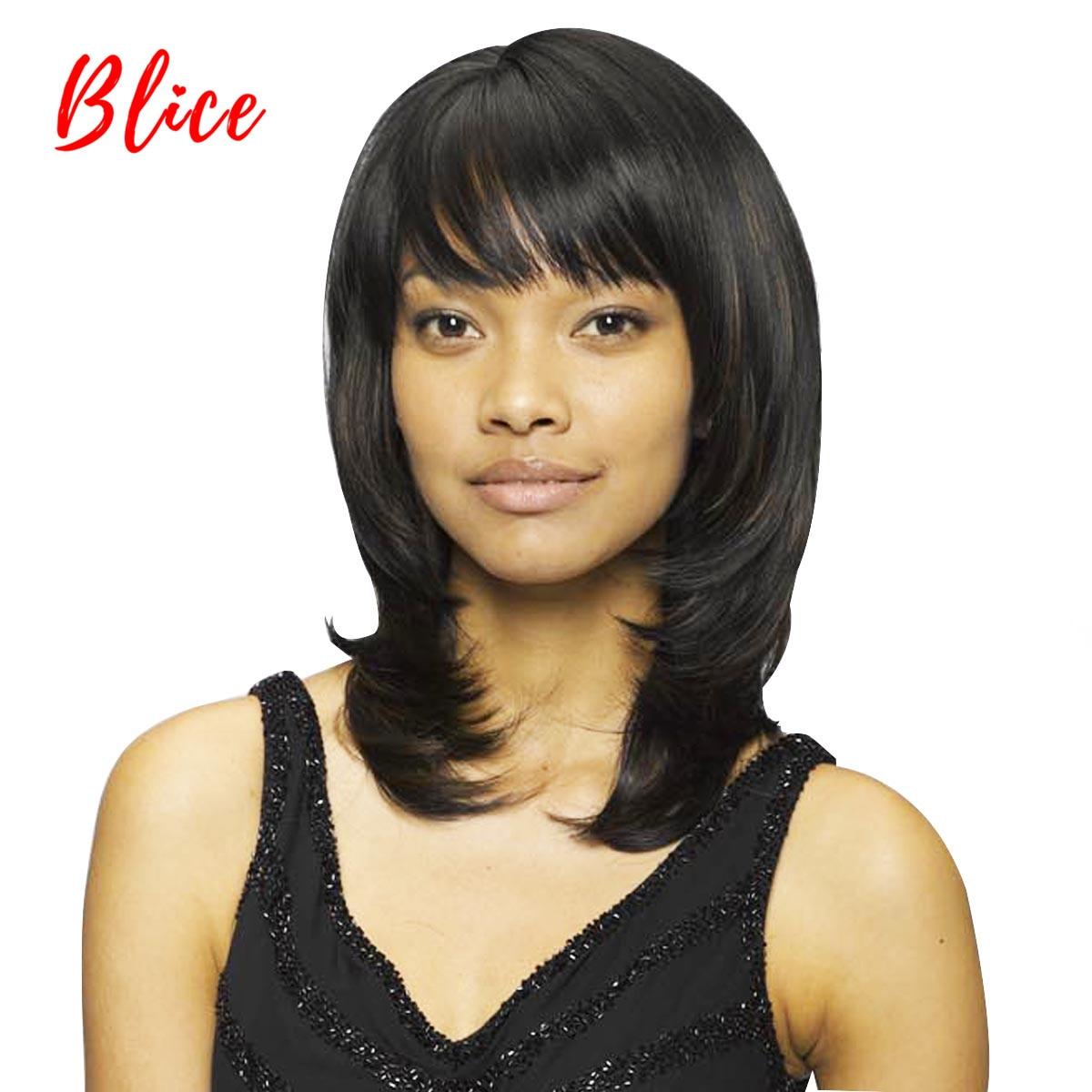 Синтетические парики Blice для женщин, средний 10 дюймовый натуральный волнистый парик, чистый черный цвет, 1 #, термостойкий с верхним верхом и правой стороны|Синтетические парики без сеточки| | АлиЭкспресс