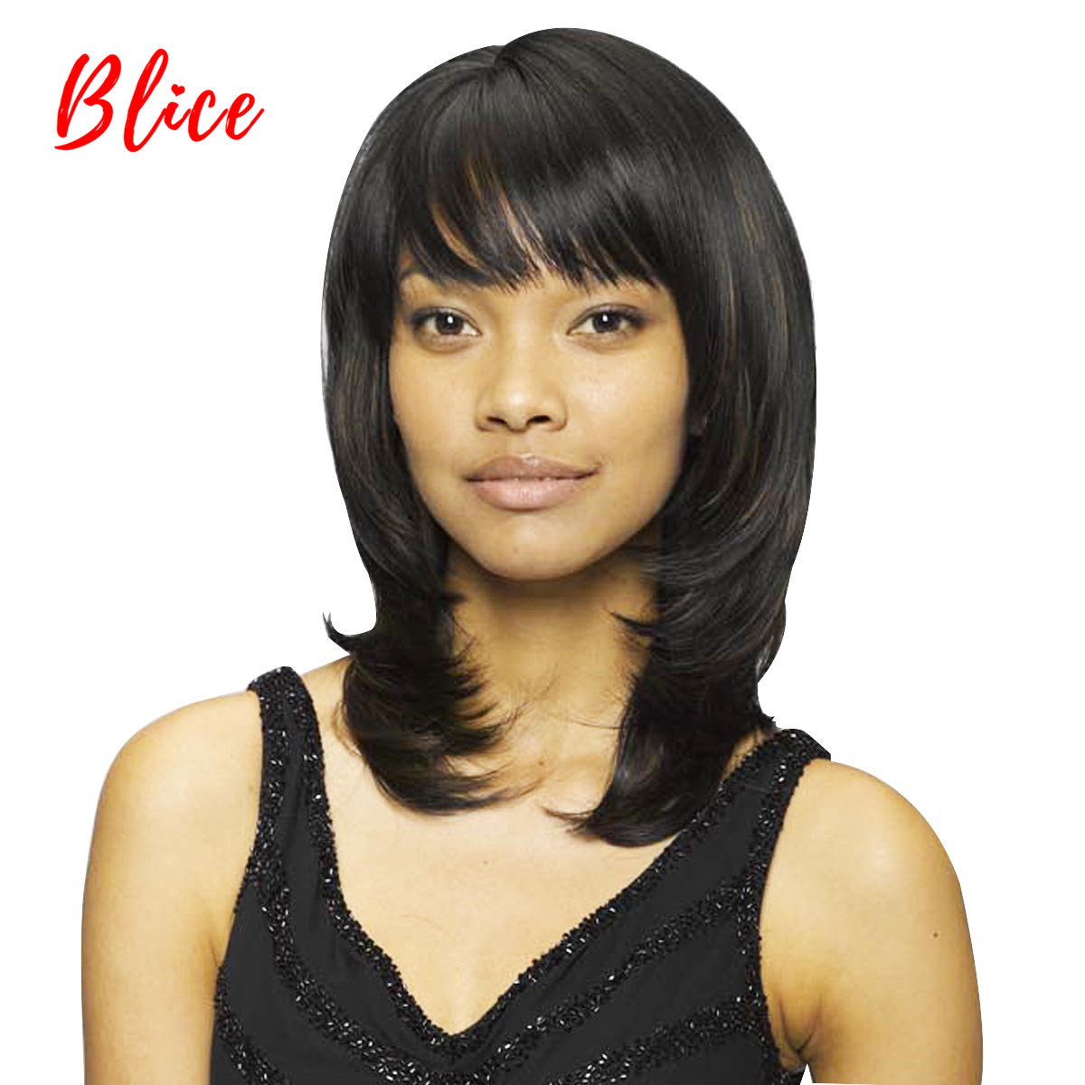 Blice For Women Synthetic Wigs Medium 10 Inch Natural Wave Wig Pure Black Color 1# With Skin-Top Right-Side Bang  Heat Resistant
