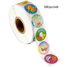 500 шт/рулон канцелярские наклейки мультфильм животных симпатичные наклейки для награждения детей, детский день подарок украшения