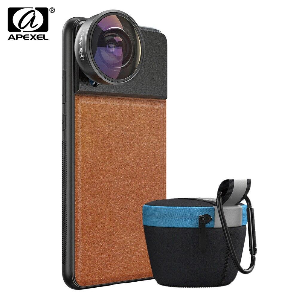 APEXEL HD Full Frame de 185 Graus Lente Olho de peixe Lente Da Câmera Do Telefone Móvel Lente Com C-Montar Caso Para iPhone X Samsung Huawei P30 Pro
