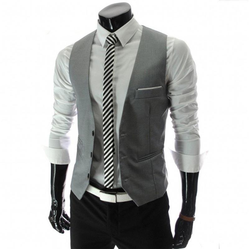 2019 New Arrival Dress Vests For Men Slim Fit Mens Suit Vest Male Waistcoat Gilet Homme Casual Sleeveless Formal Business Jacket