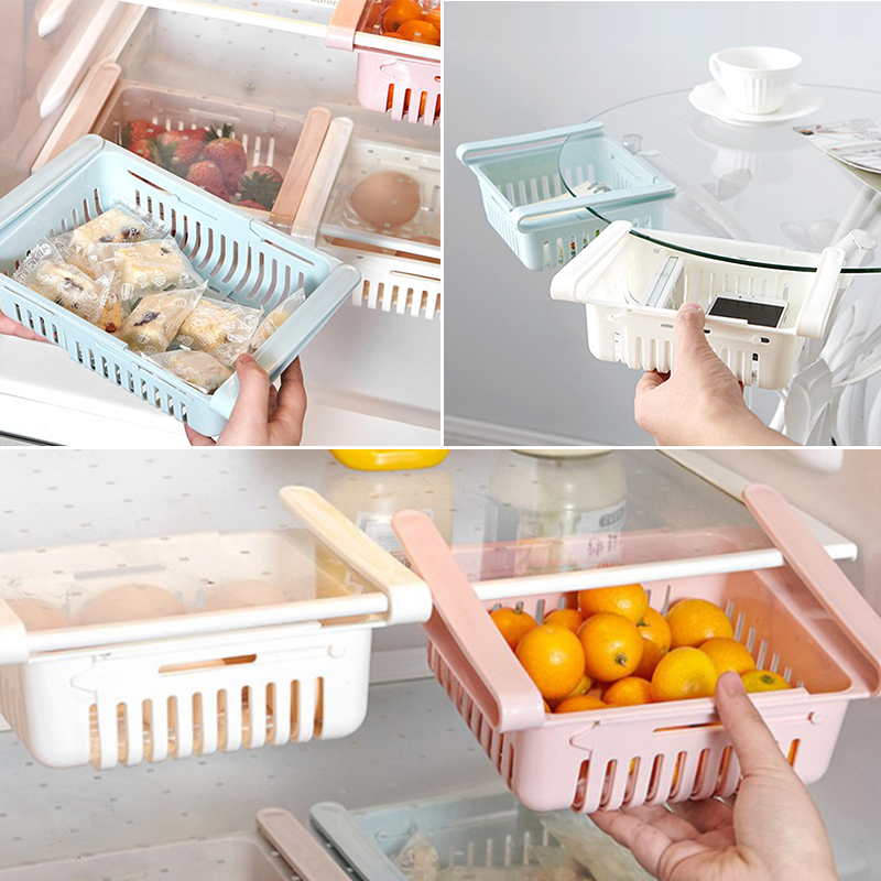 Shelf-Holder Freezer Organizer Refrigerator Storage-Rack Kitchen Fridge Pull-out Drawer Organiser Adjustable Space Saver Basket