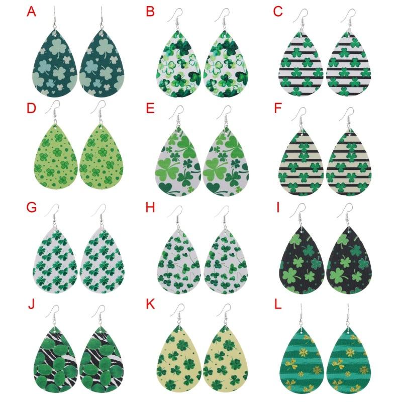 Patricks Day Earrings Irish Shamrock Good Luck Clover Green Dangle Drop Earrings for Women Girls Holiday Party Accessories St