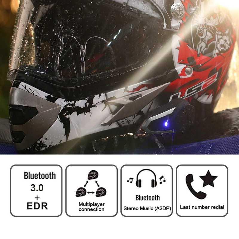 Aaae Top Sepeda Motor Bluetooth Headset, Bt-S3 1000M Helm Bluetooth Sistem Komunikasi Ski Helm Headphone Bluetooth Inter