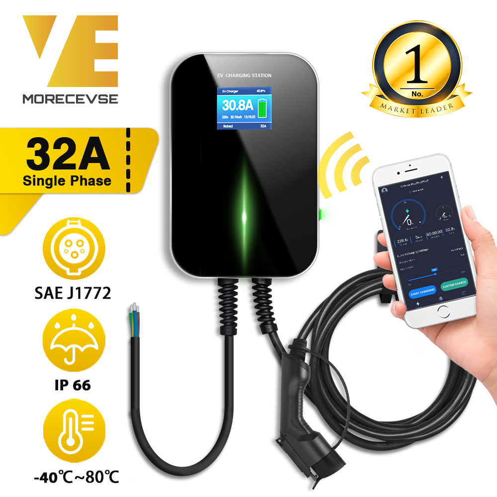 32A 1Phase APP EVSE Wallbox Version Wall Mount Wifi EV Charger Electric Vehicle Charging Station with Type 1 Cable SAE J1772