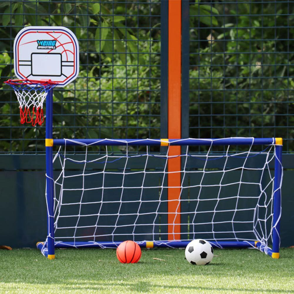 2 In 1 Outdoor Sports Basketball Stand Soccer Goal Soccer With Basketball Hoop Set For Kids Kids Mini Football Basket Basketball