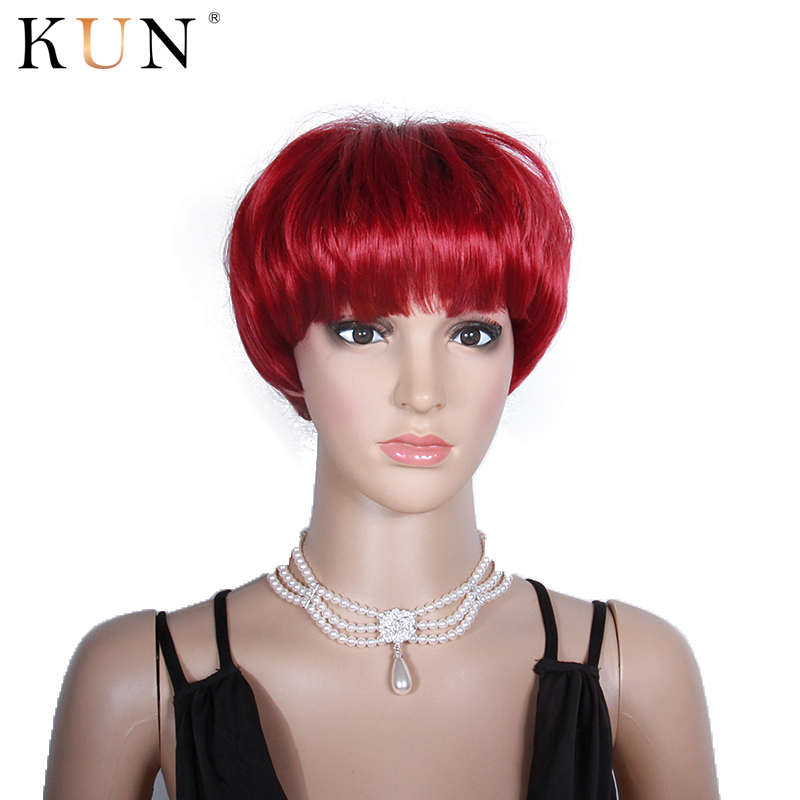 Red Short Human Hair Wigs 150% Colored Short Straight Wig With Bangs Machine Made None Lace Wig Brazilian Glueless Pre Plucked