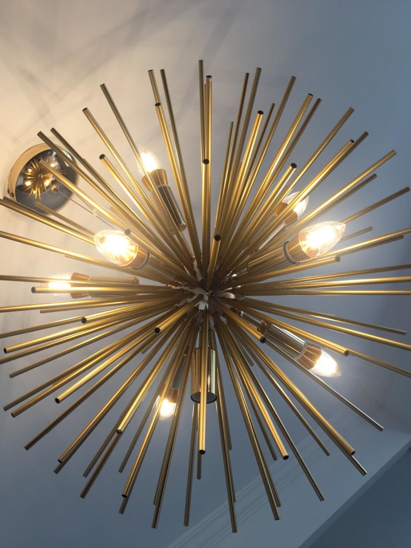 Morden Gold ball Pendant Lights Loft Living Room Kitchen Hanging Lamp Personality design Aluminum tube hanging light fixture in Pendant Lights from Lights Lighting