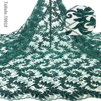 Teal Color Velvet Lace Fabric for Dresses Latest Nigerian French Tulle Lace with Sequin High Quality African Sequins Lace Fabric