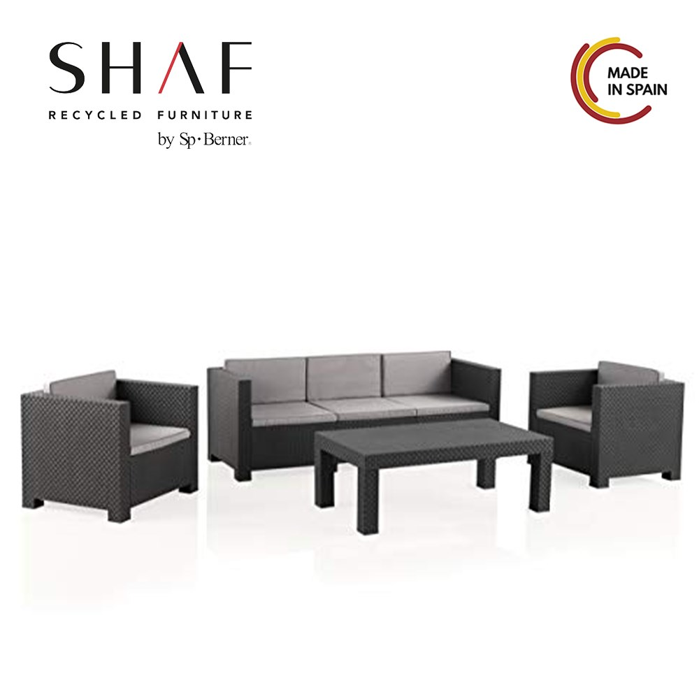 SHAF - Set Tropea DIVA-ratan Conjunto de jardin with material effect easy to combine with your exterior furniture