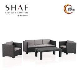 SHAF-ensemble Tropea DIVA-ratan conjoncto de jardin avec effet matière facile à combiner avec votre mobilier d'extérieur