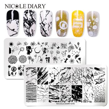 NICOLE DIARY ze stalowymi ćwiekami stemplowanie płytek kwiaty Nail Art DIY paznokci płytka z obrazkiem wzornik akcesoria narzędzie tanie i dobre opinie As the pictures show Template NDN46139 Stainless Steel 1 Pc Tłoczenie